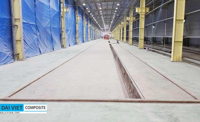 chống thấm composite FRP nền nhà xưởng và mương chứa hóa chất