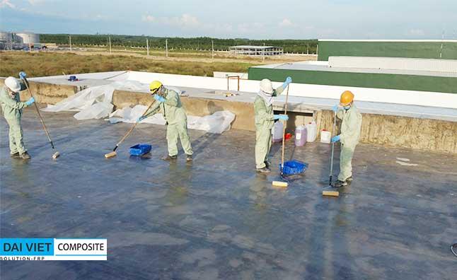 bọc phủ chống thấm composite FRP cho bể chứa nước tháp giải nhiệt