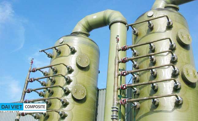 tháp xử lý mui và hơi axit nhiệt độ cao bằng composite FRP